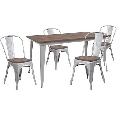 30.25 X 60 Silver Metal Restaurant Table Set With Walnut Wood Top And 4 Chairs