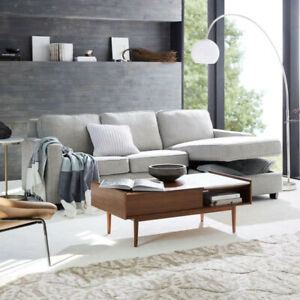 West Elm pop-up Coffee Table - Walnut/Marble $650
