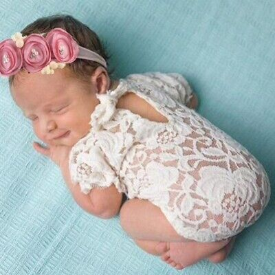Süße Baby Set Boho Haarband Body Spitze Kostüm Fotoshooting Weiß/Rosa Mädchen