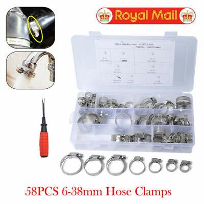 58x abrazaderas de tubo de manguera Abrazaderas de clip de aire+destornillador