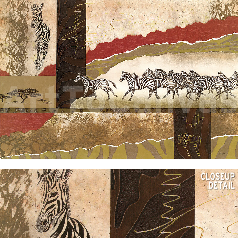 "36""x24"" SERENGETI ZEBRAS by JOSEPH POIRIER AFRICAN ABSTRACT DECO COLLAGE CANVAS"