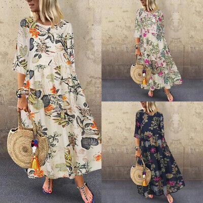 UK Womens Floral Printed Long Dress Vintage 3/4 Sleeve Kaftan Long Maxi Dresses