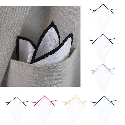 Men Pocket Square Handkerchief 100% Cotton -Solid WHITE Color Edge