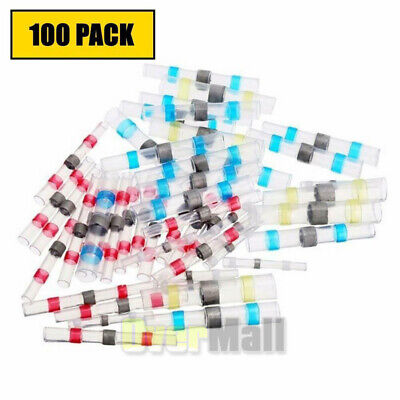 Wire Connectors Kit 100 Pcs Heat Shrink Solder Seal Butt Terminals Water Proof