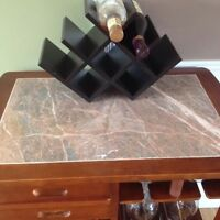 Marble top wine rack