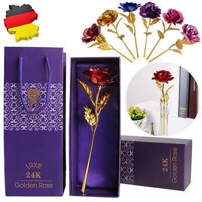 24K Gold vergoldet Goldene Rose Hochzeit Jahrestag Muttertag Geburtstag Geschenk Vergoldete Rose