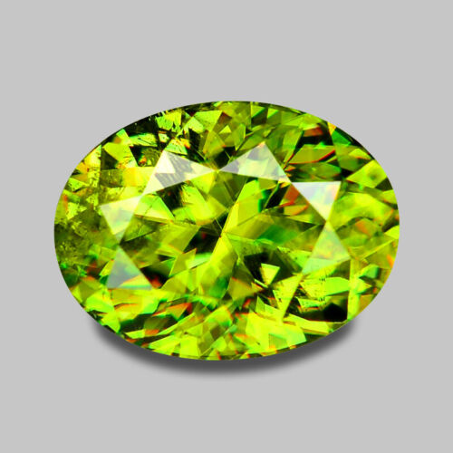 1.51CTS CALIBRATED 8X6MM OVAL CUSTOM CUT CHARTUESE GREEN SPHENE WATCH VIDEO
