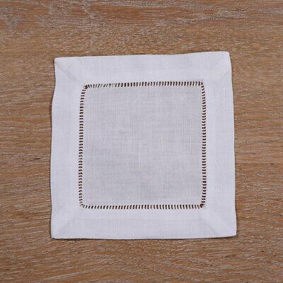 12 pieces White Linen/Cotton Hemstitched Cocktail Napkins  Cloth Coasters (White Napkins)