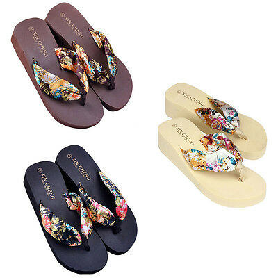 Women Floral Breathable Sandals Wedge Platform Silk Ribbon Slippers Flip Flops
