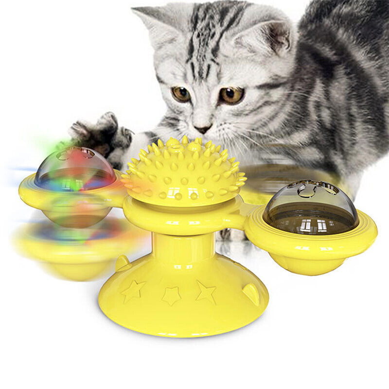 Pet Cat Playing Toys Turning Windmill Turntable Tickle Scratch Hair Brush Yellow - $4.25