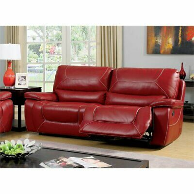 Furniture of America Huskan Leather Reclining Sofa in Red