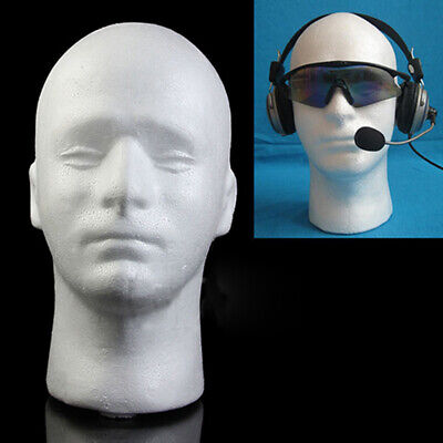 Male Mannequin Styrofoam Foam Mannequin Head Wig Glasses Hat Display Stand White