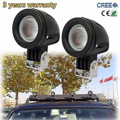 2X 10W Round Flood CREE LED Work Light Offroad Truck 4WD ATV 4X4 Motorcycle Lamp