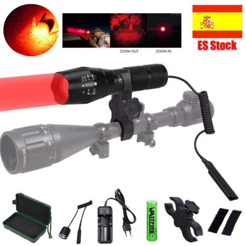 Zoom Verde Roja LED Linterna Táctica Linterna Monte Caza Pistola de luz Pilas