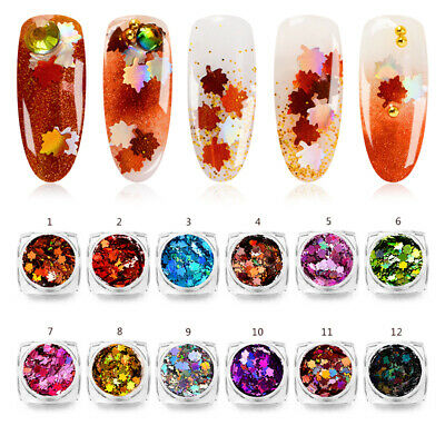 Holographic Nail Glitter Sequins Maple Leaf Christmas 3D Nail Art Decoration DIY ()