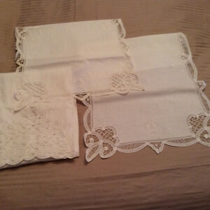 Brandenburg lace ,place mats, bun holders,cushion cover.runners.