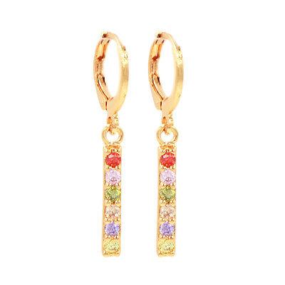 Women Fashion Simple Multicolor Cubic Zirconia CZ Stick Drop Earrings Jewelry Cubic Zirconia Stick Earrings