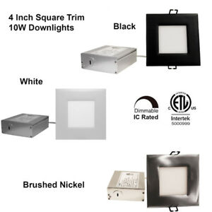 4-Inch 10W Square Trim Recessed Slim LED Downlight Dimmable