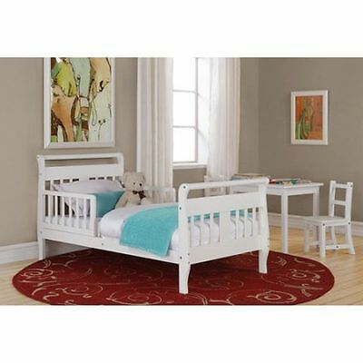 Toddler Bed With Rails Sleigh Crib Mattress Boys Girls Kids Furniture White