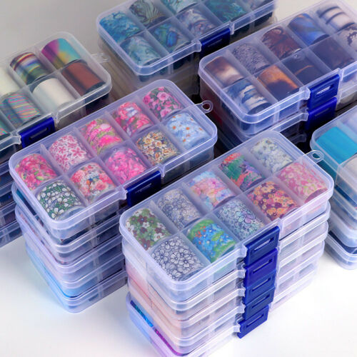10 Rolls Holographic Nail Art Transfer Foil Sticker Flower Starry AB Paper Wraps
