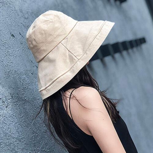 Women Cotton Beach Bucket Hat Wide Brim Outdoor Fishing Sun
