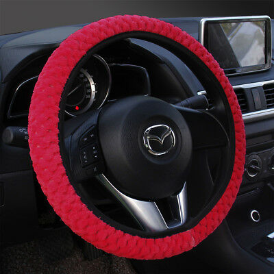 (1Pcs Soft Steering Wheel Cover Fuzzy Wool Velvet Car Auto Winter Red Warmer Set)