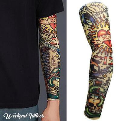 Heart Skull Snake Halloween Long Cover Fake Full Arm Leg UV Sleeve Tattoo Design ()
