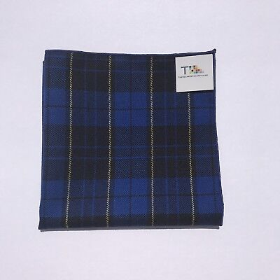 Blue And Yellow Plaid Pocket Square with Blue  Trim