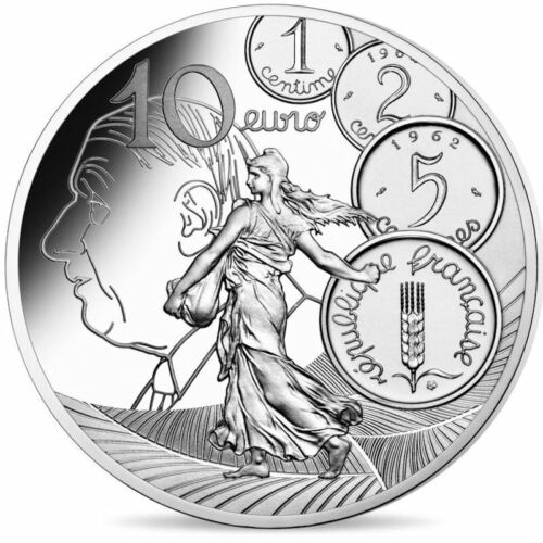 2020 France €10 Euro Silver Proof Coin The Sower La Semeuse: New Franc de Gaulle