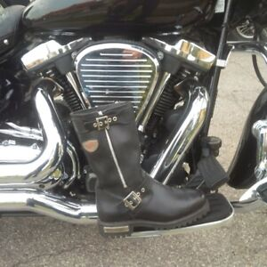 Ladies black leather motorcycle boots