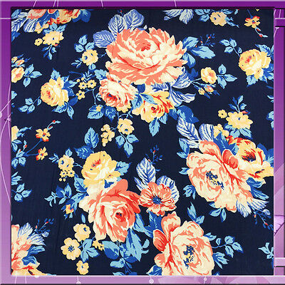 100% RAYON CHALLIS FLOWER / FLORAL PRINT 54 INCHES WIDE FABRIC NAVY BLUE / CORAL