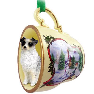Australian Shepherd Christmas Ornament Teacup Blue Australian Shepherd Christmas Ornament