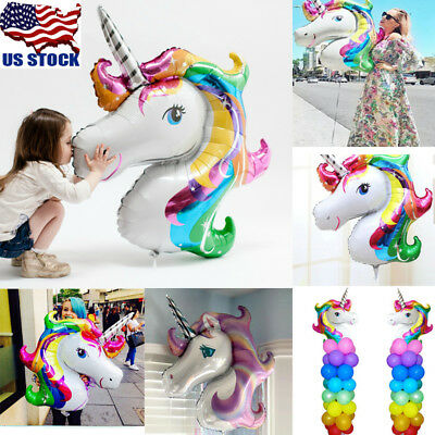 Rainbow Balloons (USA 1-50PCS Unicorn Large Rainbow Foil Helium Balloon Kids Birthday Party)