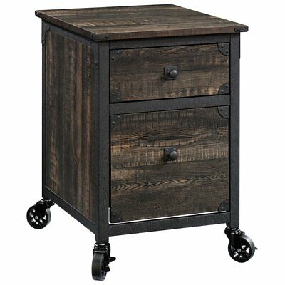 Sauder Steel River 2 Drawer Mobile File Cabinet In Carbon Oak