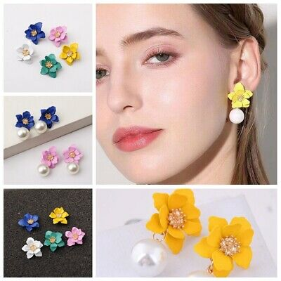 June Birthstone Flower - Fashion Pearl Women Flower Drop Dangle Earrings Ear Stud Jewelry Double Layer