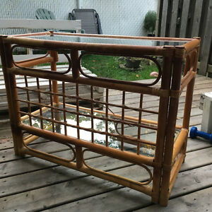 Wooden table with glass top for sale