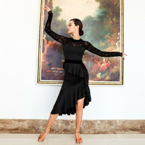 NEW Latin Ballroom Dance Dress Modern Salsa Waltz Standard Long Dress#G366 Black
