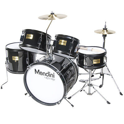 MENDINI 5 PIECE CHILD JUNIOR JR. DRUM SET +CYMBAL ~BLACK BLUE GREEN RED SILVER on Rummage