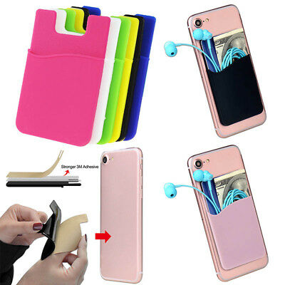 Silicone Pure Color Cell Phone Holder Case Credit Card Pocket Cover Money Pouch Color Cell Phone Cover Case
