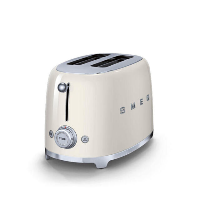 SMEG 2 Slice Toaster Extra Wide Bagel Retro 50's TSF01CRUK 2 Year Warranty CREAM