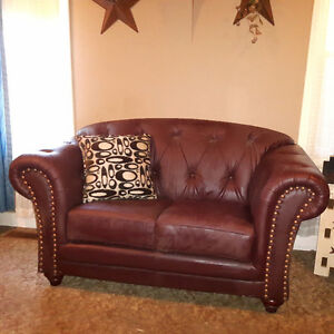 Faux Leather, Excellent Condition Loveseat & Chair
