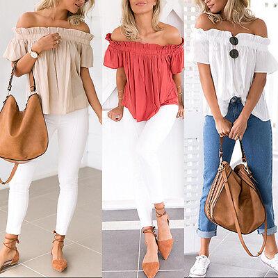 Summer Womens Ladies Casual Off The Shoulder Tops Tank Lesiure T Shirt Blouse