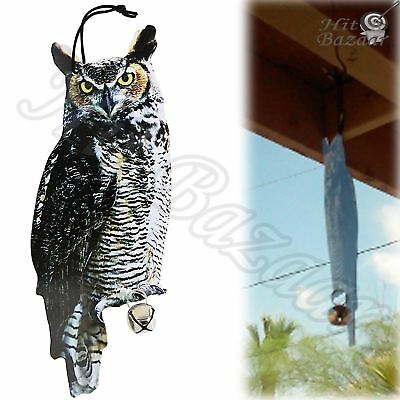 OWL SCARECROW DECOY Garden Birds Protection Pest Away Scare Repellent Realistic
