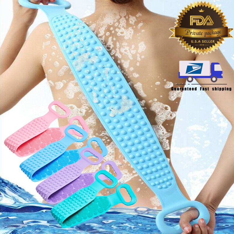Bath towel Dual Side Silicone Back Scrubber Strap Body Bath Brush Cleaning Tools