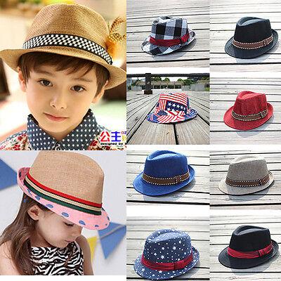 Cute Kids Boys Girls Fedora Trilby Panama Cowboy Jazz Beret Beanie Hat Cap