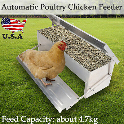 4.7kg Chicken Feeder Automatic Treadle Self Opening Aluminium Duck Food Poultry