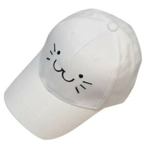 Fashion Adjustable Embroidery Snapback Baseball Cap Cute Cartoon Cat Face  X5T9