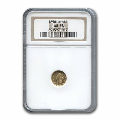 Click now to see the BUY IT NOW Price! 1850 D $1 LIBERTY HEAD GOLD AU 58 NGC