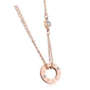 18K Rose Gold Plated Double Pendant Necklace