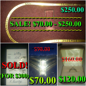 GOLD CHAINS/NECKLACES, GOLD & DIAMOND PROMISE RINGS 10 K GOLD